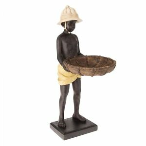 Skulptur-Figur-Mohr-Diener-Afrika-mit-Tablett-Schale-Kellner-Butler-Visitenkarte