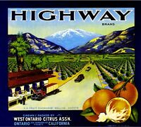 Ontario Highway Old Mt. Baldy 2 Orange Citrus Fruit Crate Label Art Print