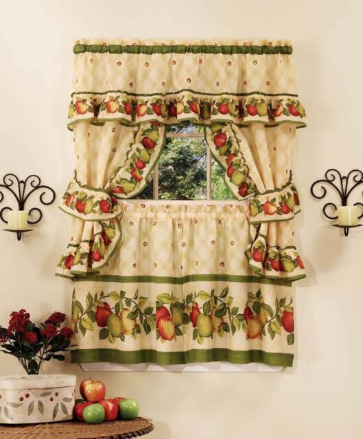 """Apple Orchard Complete Kitchen Curtain Set 36"""" Long Window"""