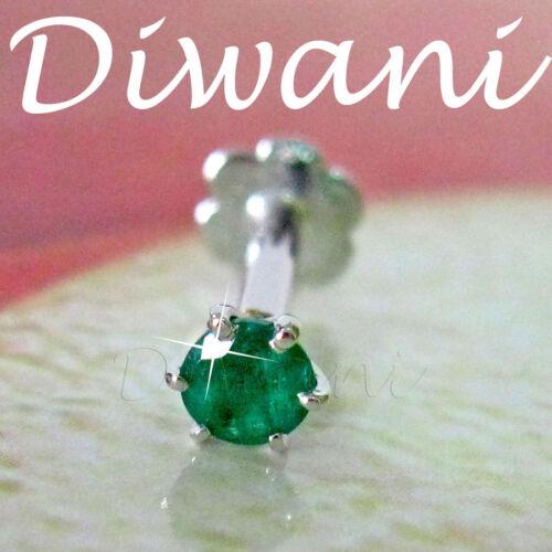 3mm Real Emerald 14k Gold Nose Lip Labret Nefertiti Piercing Pin Screw Ring Stud