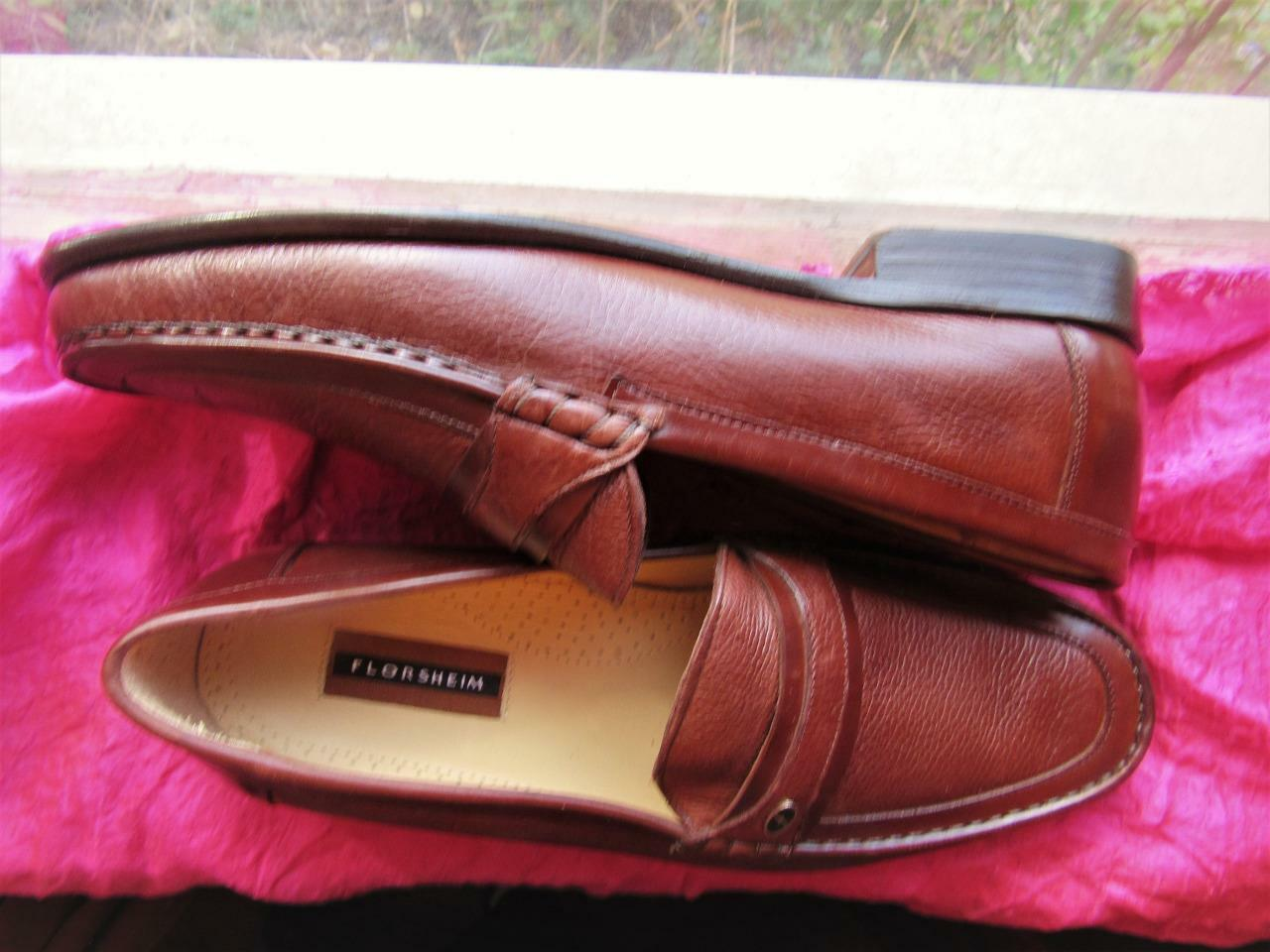 FLORSHEIM MEN SHOES BROWN LEATHER LOAFERS SIZE 13D  45  MADE IN BRAZIL