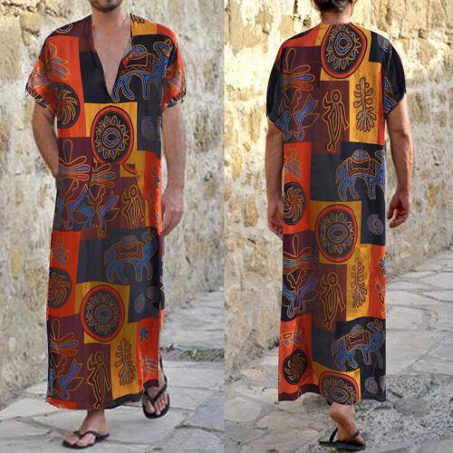 INCERUN Men/'s Linen V NECK Muslim Saudi Arab Kaftan Formal Causal Robe Dress UK