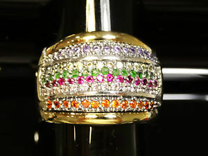 Two-Tone-Sterling-Silver-and-9K-Gold-Ring-size-P-SAME-DAY-SHIPPING