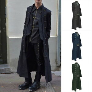 Mens-Medieval-Jacket-Coat-Pirate-Costume-Steampunk-Halloween-Long-Outwear-Trendy