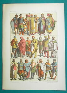 BYZANTINE-COSTUME-8-11th-C-Soldiers-Police-Bishop-1883-Color-Litho-Print