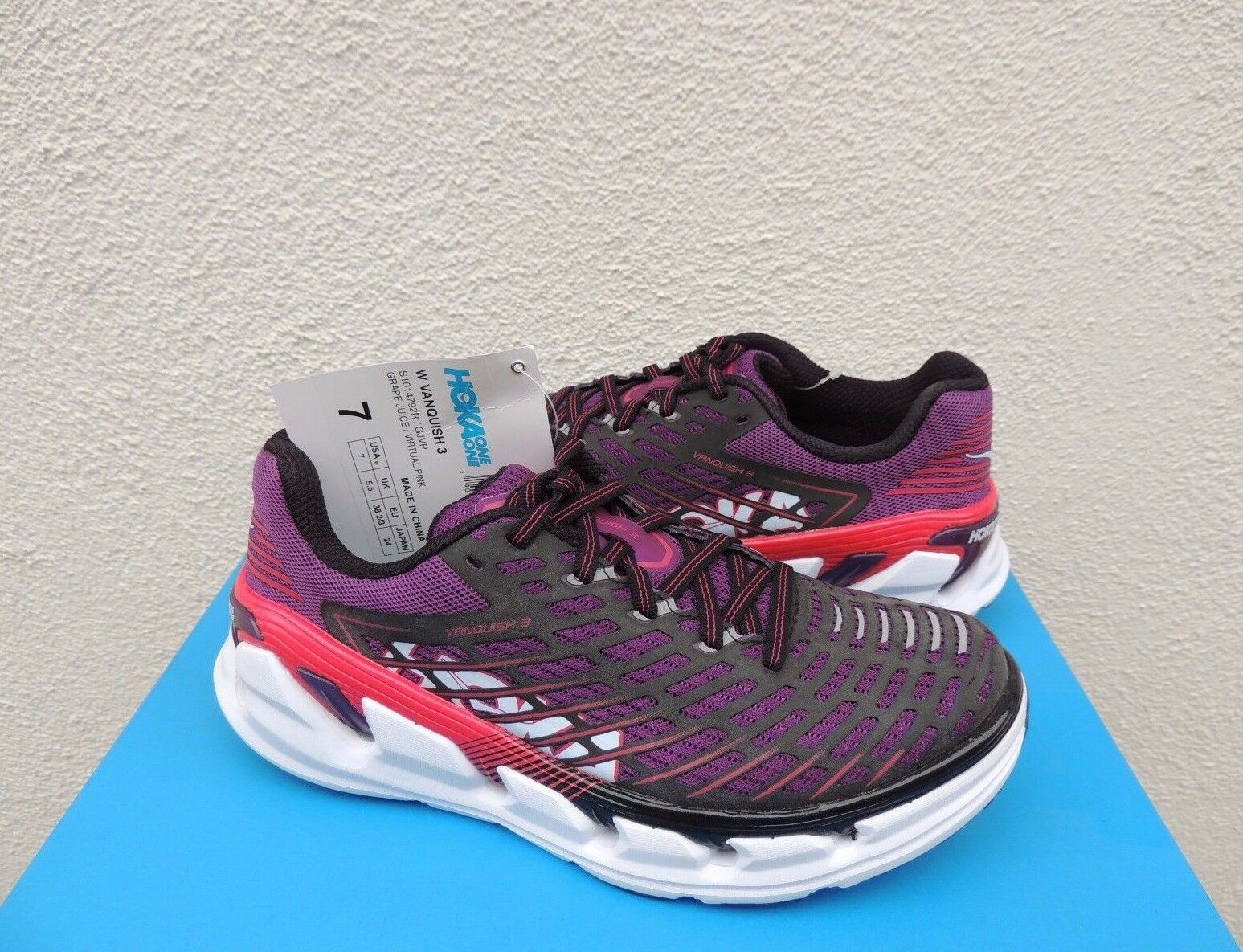 HOKA ONE ONE VANQUISH 3 GRAPE JUICE  PINK RUNNING SHOES, US 7  EUR 38 2 3 NWT