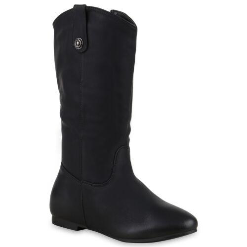 894187 Schuhe Cowboy Stiefel Damen Zier Knöpfe Western Boots Trendy