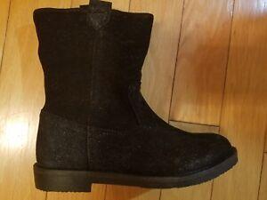 NIB-kids-girls-ZARA-suede-with-inside-fur-black-boots-size-UR-34-US-2
