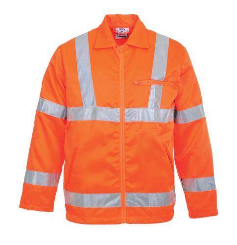 Portwest Hi-Vis Poly-cotton Jacket RIS Railway Rail Safety Stain Resistant RT40