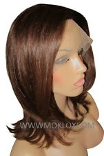 "Remy Human Hair Wig Full Lace 14"" Medium Short Dark Brown 3 Silk Top Moklox UK"