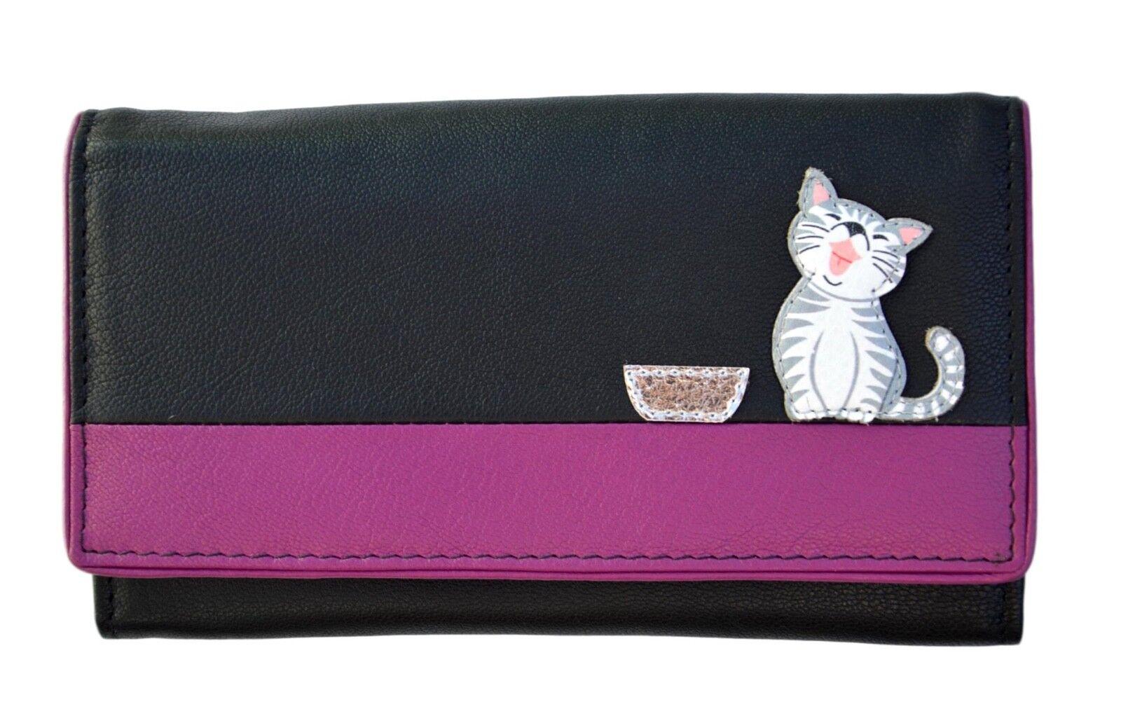 MALA Leather Cat Purse Black Ladies Bi-Fold Coin Card Holder Large Wallet Purses