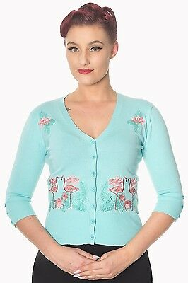 Banned Dancing Face to Face Flamingo Cardigan Blue 50s PinUp Rockabilly S - XL