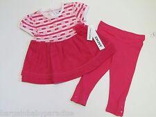 NWT DKNY 2 Pc Pink Hearts Tutu Dress Top & Leggings Baby Infant Girls 12 M $44