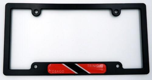 Trinidad Tobago Black Plastic Car License plate frame w// domed decal insert flag