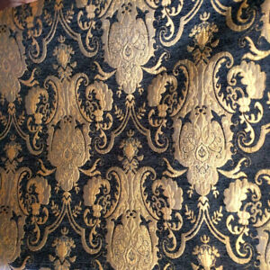 ARABESQUE-GOTHIC-BAROQUE-UPHOLSTERY-CHENILLE-FABRIC-BLACK-GOLD-JACQUARD-DAMASK