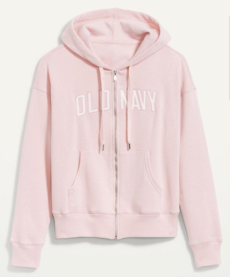 Old Navy Women's Plus Size 3X Logo Full Zip Front Hoodie Pink Sweatshirt New