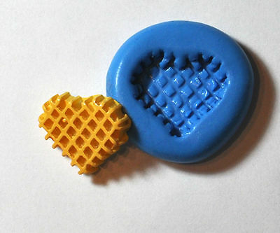 Heart Waffle cookie Flexible Silicone Push Mold Polymer clay Resin Miniature wax