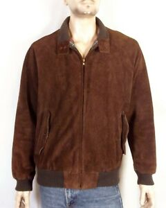 2c89dc58b vtg 70s Abercrombie & Fitch Men's Brown Leather Jacket Bomber Plaid ...