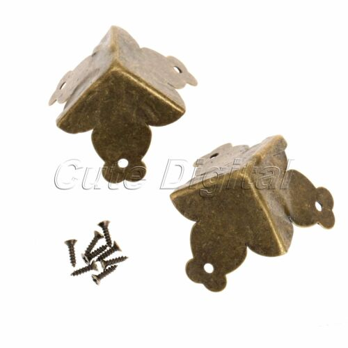12Pcs Antique Brass Decorative Jewelry Gift Wooden Box Corner Protector /& Screws