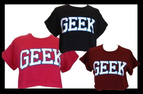 LADIES GIRLS GEEK CROP TOP T SHIRT UK SIZE S M L XL VARSITY COLLEGE TEE BNWT