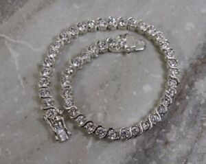 """7.00Ct Round Cut Delicated Diamond Tennis Bracelet 8/"""" Inch 14K White Gold Over"""