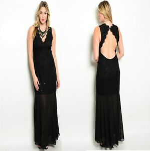LD18-Womens-Size-18-20-Black-Formal-Wedding-Evening-Party-Prom-Gown-Dress-Plus