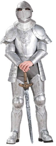 Knight in Shining Armour Adult Mens Costume Medieval Renaissance Silver