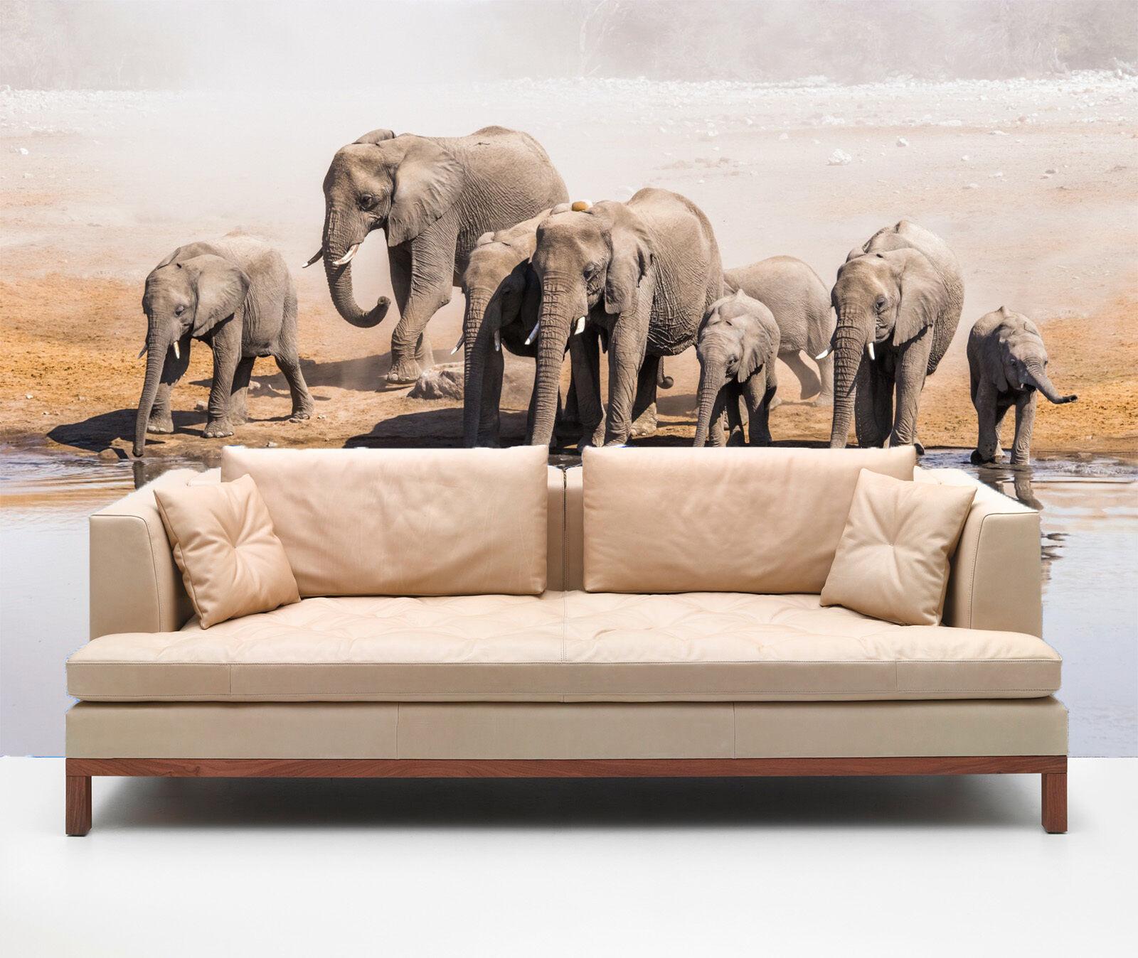 3D Viele Elefanten  Fototapeten Wandbild Fototapete Bild Tapete Familie Kinder