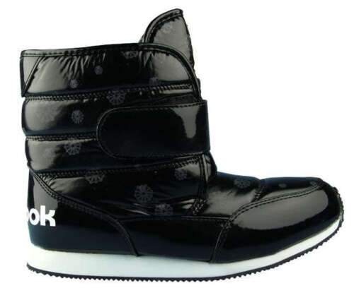 UK 3.5 to 5.5 BLACK SHOES REEBOK JUNIORS GIRLS WINTER HAVEN FLEECE BOOTS