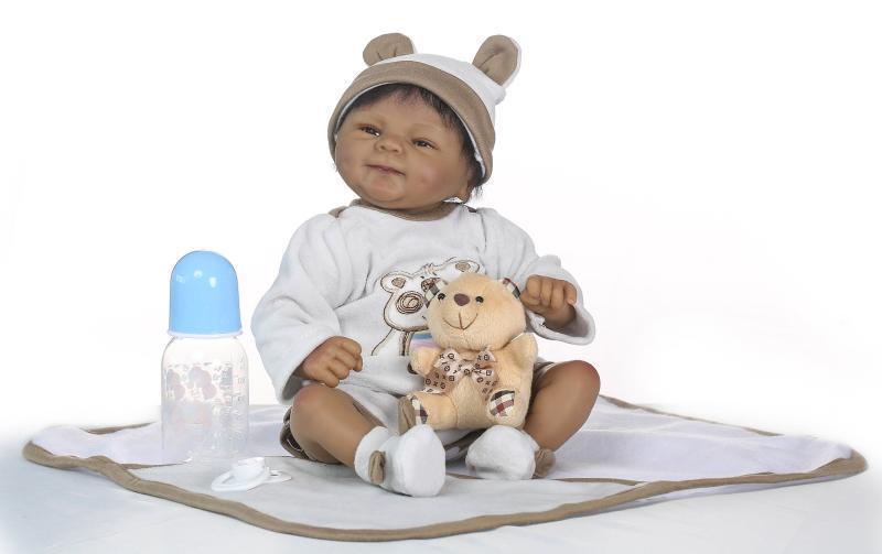 18  Vinilo Muñeca Reborn NPK realista de Silicona Recién nacidos bebé niño Negro + Ropa
