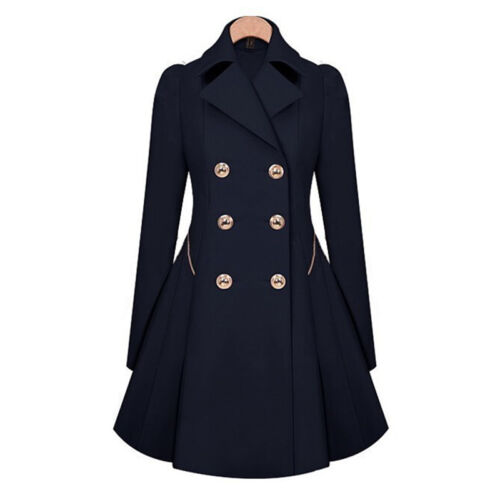 Women Lapel Double Button Breasted Parka Dress Coat Trench Comfy Jacket Outwear