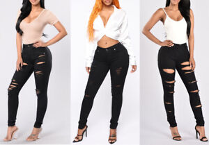 WOMEN//LADIES//GIRLS HIGH WAISTED EXTREME RIPPED SLIM SKINNY JEANS SIZE 6-14