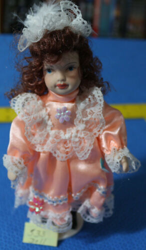 7 INCH PORCELAIN DOLL WITH STAND RED HAIR TANGERINE DRESS LACE VICTORIAN STYLE
