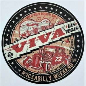 Wild-Rock-N-Roll-STICKER-Decal-Viva-Las-Vegas-22-Rockabilly-Weekend-Vince-Ray