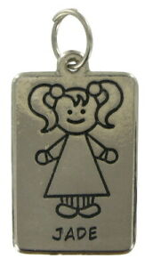 Girl-Name-Jewelry-Line-Drawing-Charm-Silver-Tone-1-5-034-Pendant-034-Jade-034