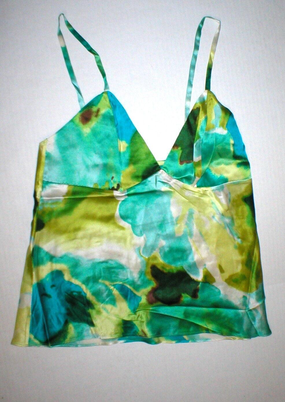 NWT New Designer Josie Natori Silk Blouse S bluee Green White Tank Camisole Adjus