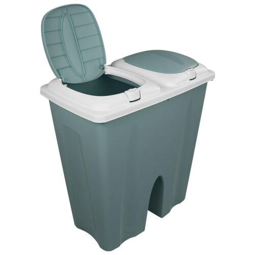 2x25 L Mülleimer Doppel Abfalleimer Abfallbehälter Müllsammler Papierkorb Deckel