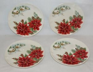 Maxcera-Poinsettia-Snow-Village-Christmas-Holiday-Salad-Plates-Set-of-Four-New