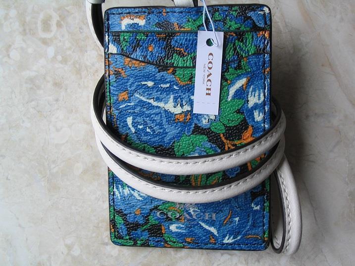 ~COACH Lanyard Signature Flower Meadow Multi Badge Holder Card Case NWT!~