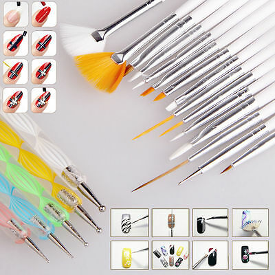 Nail Art Design Set Dotting Painting Drawing Polish Brush Pen Tools sets 20pcs