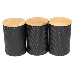 Image Is Loading Set Of 3 X Black Hexagonal Storage Canisters