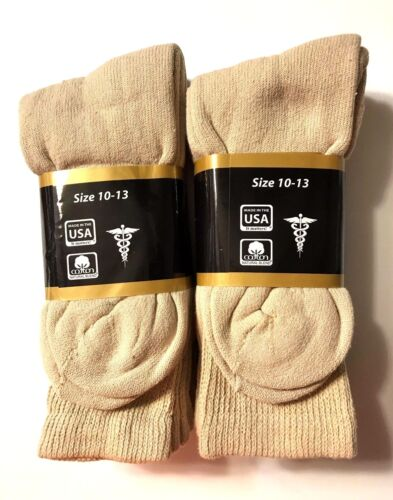 Make In USA. 3 //6 //9 //12 Pair Non-Binding Top DIABETIC Tan Crew Sock Size 10-13