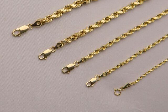 36d8ba8fda7b4 BRAND NEW 14K Yellow Gold 1.5-5mm Italy Rope Chain Twist Link Necklace 16