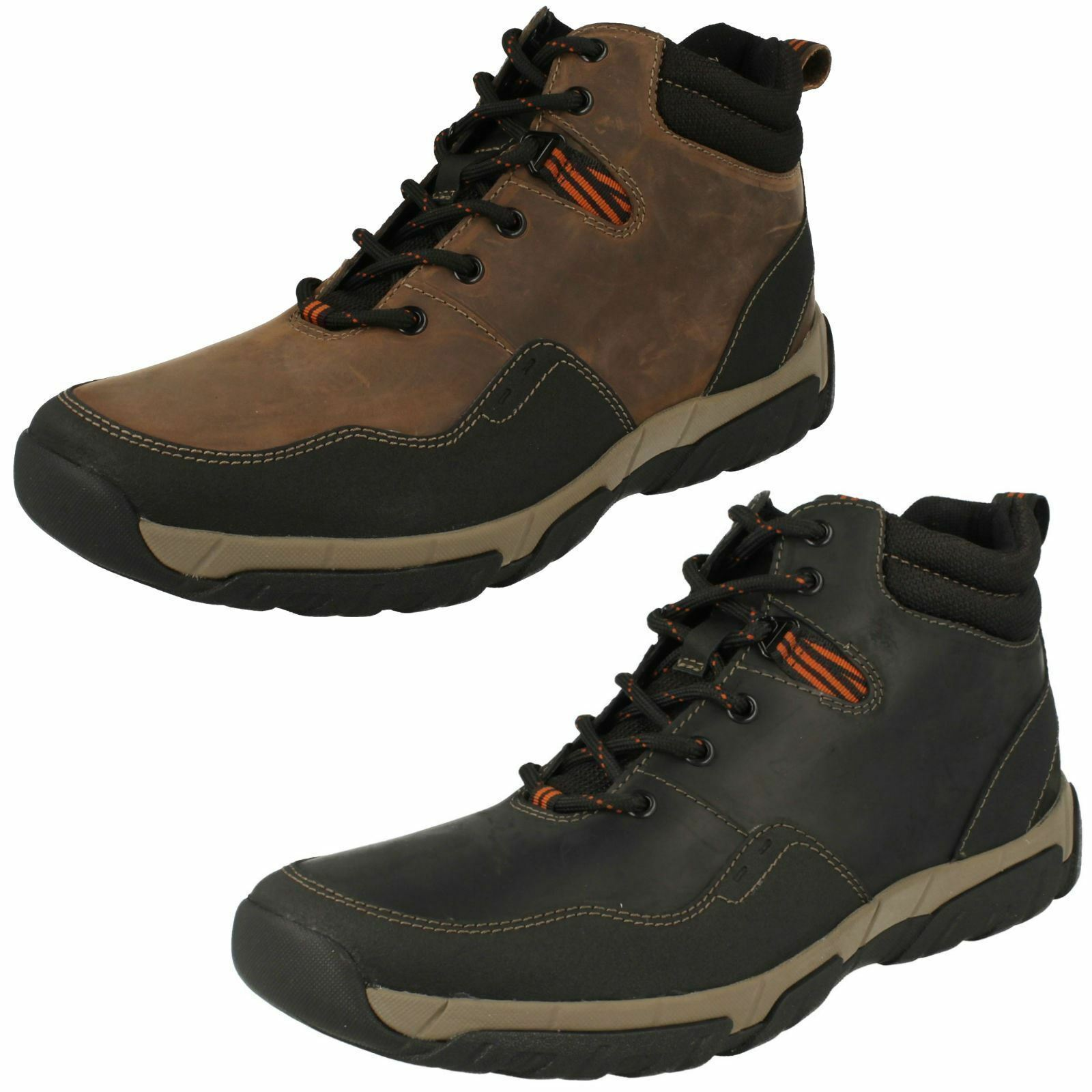 MENS CLARKS LEATHER BOOTS IN 2 COLOURS STYLE WALBECK TOP