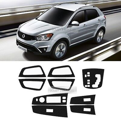 Carbon Gear Window Switch Door Catch Decal Cover for SSANGYONG 2014-2016 Actyon