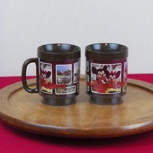 Walt Disney World 1970/'s Thermo Serv Brown Coffee Mug Mickey Mouse Souvenir Cup
