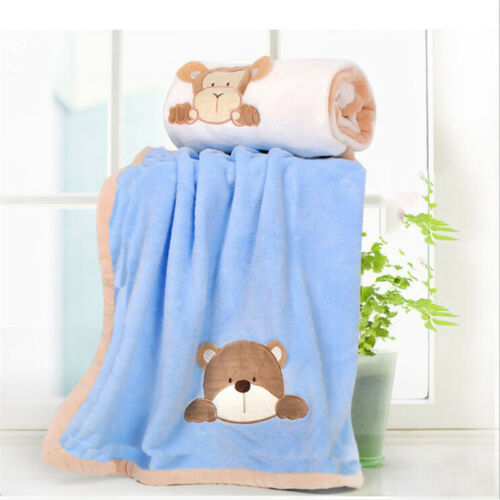 Newborn Infant Baby Boys Girls Large Soft Fleece Comforter Blanket Cot Pram DS