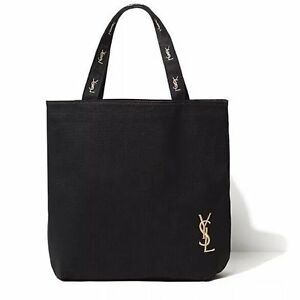 Yves Saint Laurent YSL Black Canvas Shopper Bag Eco Tote Bag New ...
