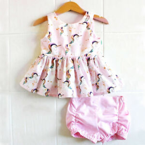 Pretty-Newborn-Kids-Baby-Girls-Unicorn-Tops-Dress-Shorts-2Pcs-Outfits-Set-0-18M