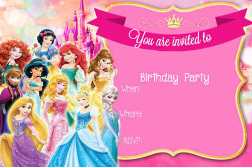 Disney Modern /& Classic Princesses Girls Birthday Party Invites D6